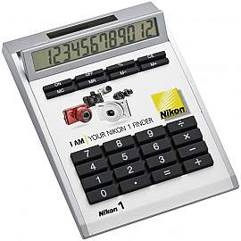 Own-design desk calculator with insert without holes, small