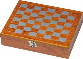 Playset with hip flask, chess and card game