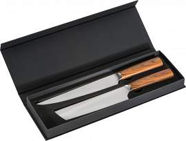 Knife set 2-pieces with light wooden handles