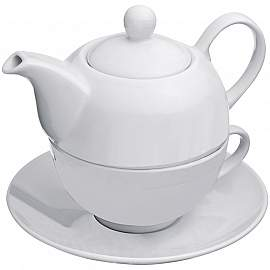 Teapot with cup and coaster