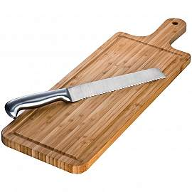 Bamboo chopping board with knife