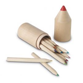 12 creioane in cutie din lemn