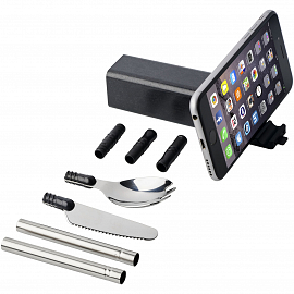 Galen wheat straw cutlery set with phone holder