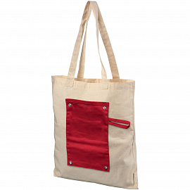 Snap 180 g/m� roll-up buttoned cotton tote bag