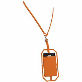 Fort-rock silicone RFID card holder with lanyard