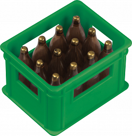 Bottle opener in the shape of a beer crate