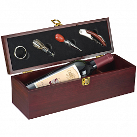Wine set in wooden box